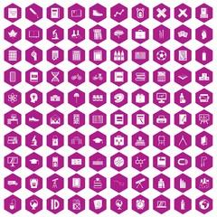 100 school icons hexagon violet