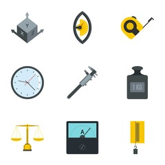 Measuring icon set, flat style