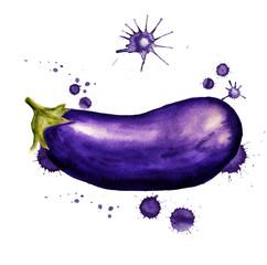 Eggplant with paint blots