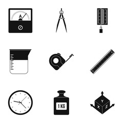 Measure instrumentation icon set, simple style