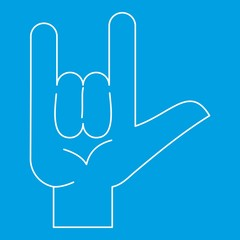 Rock gesture icon, outline style