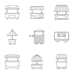 Street food truck icon set, outline style