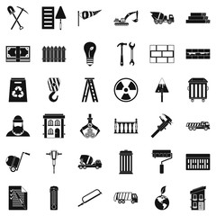 Building hammer icons set, simple style