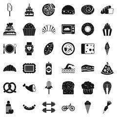 Calories in food icons set, simple style