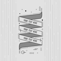 Styled memphis Ribbons, Labels, Tags, Emblems. Vector