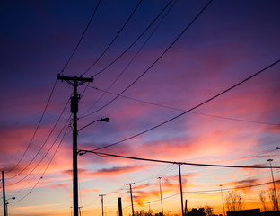 Power lines during sunset