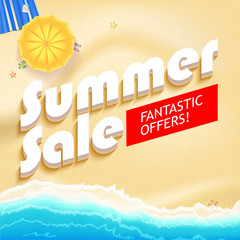 Summer sale bright background. Sunny sandy beach with turquoise sea tide, umbrella and Mat. Excellent for your cards, luxury invitation, advertising. 3D illustration