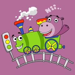 little hippos ride the train - vector illustration for children.