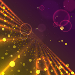 Particles of different size and color float in space against the background of the rays outgoing in the future. Abstract virtual space with glow and stars, background. Eps 10.