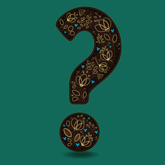Vintage Romantic Question Mark with Golden Flowers