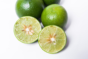 Lime. Fresh fruit  on white background.