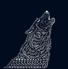 Doodle wolf illustration