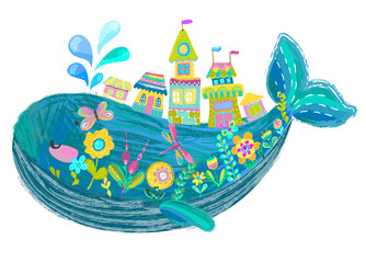 Big beautiful whale with houses and flowers