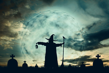 Silhouette of wizards at moonlight background color vintage style , Halloween concept