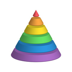 Layered cone. 3D conical pyramid of 6 multicolored rainbow spectrum layers. Vector illustration.