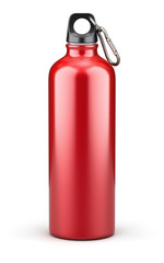 Metal water bottle on white background