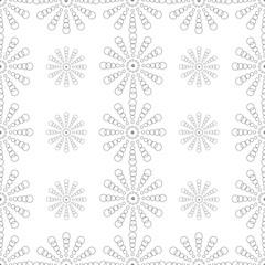 Flower of black polka seamless pattern