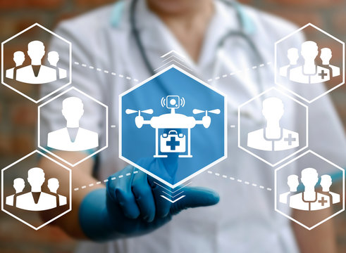 Medical Flying Drone - Emergency Health Care concept. Fly automotive unmanned medicine technology. Doctor presses help quadrocopter icon on virtual screen.
