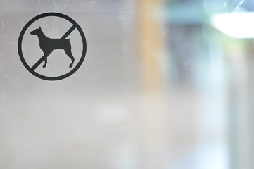 No dog, allowed sign on glass door, prohibited sign of pet, sticker sign for pet on the glass door