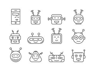 A set outline robot icons for mobile apps, web-design, browser games, media, social networks avatars
