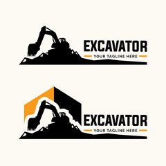 Excavator and backhoe logo template.