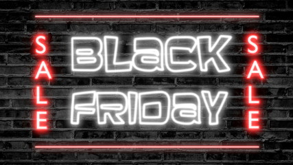 Black friday neon sign with red sale on brick background, 3D rendering