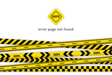 oops website page with black and yellow striped borders vector illustration. Border stripe web, warning banner template. Error page not found.