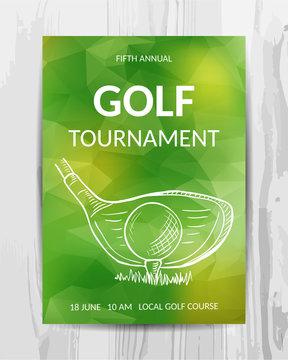 Golf party invitation card. Sport tournament flyer.