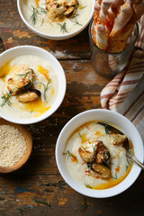 Vegetables cream soup in bowls