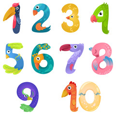 Numbers like birds in fairy style / There are numbers from one to ten in fairy style like different birds. Bright and colorful gradient illustration