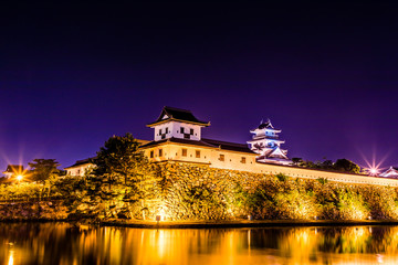 Lighted up Japanese castle.