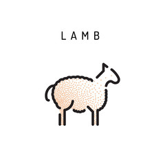 sheep icon, vector lamb lamb outline icon. Isolated lamb label