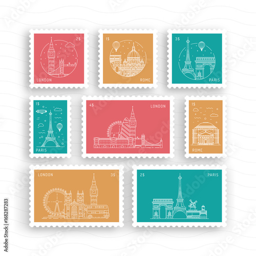 a set of postage stamps vector flat depicting european