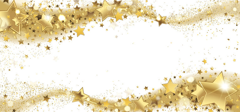 Frame of Golden Sparkling Stars