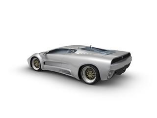 Silberner Sportwagen auf weißen Hintergrund