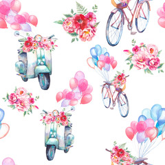 Watercolor vintage seamless pattern: scooter and bicycle with bouquet of flowers and air balloons. Hand painted retro repeating texture. Summer surface design