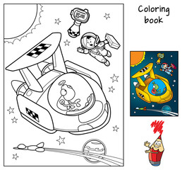 A space traveler with a suitcase catches a taxi. Coloring book. Cartoon vector illustration