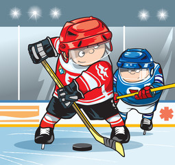 Two hockey players on the hockey field. Cartoon vector illustration