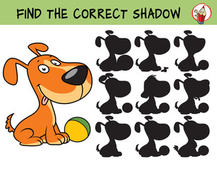 Funny little dog with a ball. Find the correct shadow. Educational matching game for children. Cartoon vector illustration