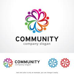 Community Logo Template Design Vector, Emblem, Design Concept, Creative Symbol, Icon