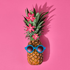 Pineapple Fruit Hipster. Bright Summer Color, Accessories. Tropical pineapple with Sunglasses. Creative Fun Art Style. Party Mood