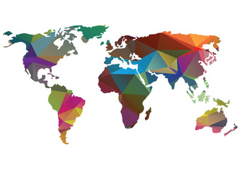 bright vector low polygons world map silhouette isolated on white background