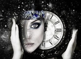 Woman and time, person of the Universe