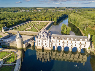 Aerial view on Chenonceaux Castle at sunset in Loire Valley, France