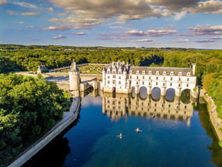 Aerial view on Chenonceaux Castle during sunset in Loire Valley, France