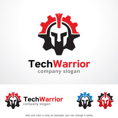 Tech Warrior Logo Template Design Vector, Emblem, Design Concept, Creative Symbol, Icon