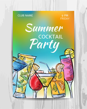 Summer party invitation card. Cocktail party flyer.