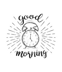 Vector sketch drawing clock with hand drawn lettering. Good morning