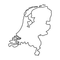Netherlands map of black contour curves of vector illustration.