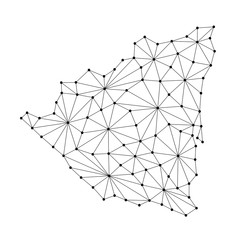 Nicaragua map of polygonal mosaic lines network, rays and dots vector illustration.